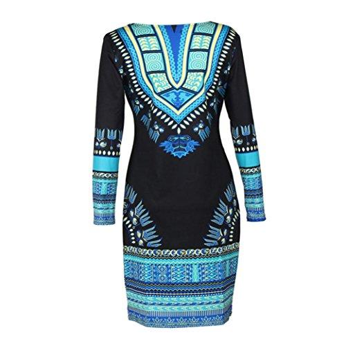 Kwok Womens Traditional African Print Dashiki Bodycon Long Sleeve Dress (XXL)