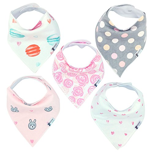 Sweetheart Bandana (AIVIA Baby Bandana Bib 5-Pack Set For Girls - Absorbent Soft Cotton Perfect for Drooling and Teething (Sweet Heart Collection))