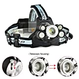 Outdoor Super Bright XML+T6-2409-B LED use 2x18650 Battery Rechargeable Headlamp Zooming Headlight for Fishing Hight Light