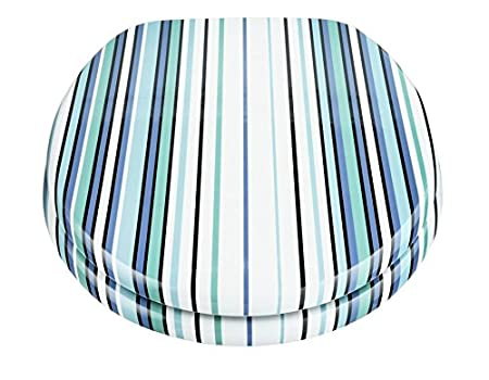 Stupendous Deluxe Durable Stripe Toilet Seat Blue And Aqua Amazon Co Short Links Chair Design For Home Short Linksinfo