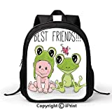 Durable Waterproof School Bag Cute Cartoon Baby in Froggy Hat and Frog Best Friends Love Theme Graphic Print Backpack :Suitable for Men and Women,School,Travel,Daily use,etc,Cream White Green