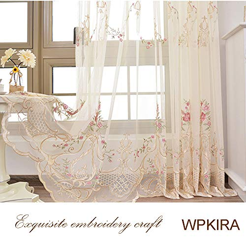 WPKIRA Country Style Voile Curtains Rod Pocket Top Rustic Delicate Floral Embroidery Sheer Curtain for Living Room Luxury European Voile Tulle Balcony Window Curtain Yarn 1 Panel W54 x L63 inch