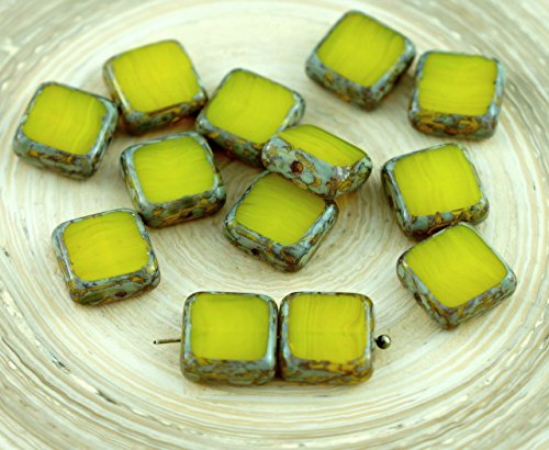 Picasso Brown Amber Yellow Opal Table Cut Rustic Square Flat Czech Glass Beads 10mm 10pcs