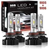SEALIGHT 9005/HB3 High beam 9006/HB4 Low Beam LED Headlight Bulbs Combo Package CSP Chips 6000LM 6000K