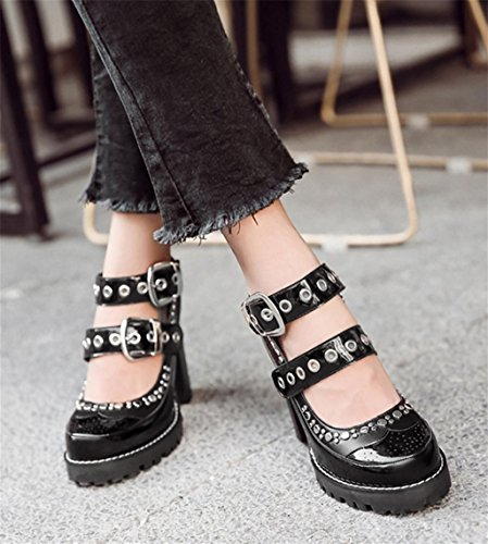 Chaussures Bottes Chaussures Zip Lacets Toe black Kitzen Femmes Pointed Chaussures Chunky Up Mid Splicing Sexy à Chic Bottes UAHwdqO