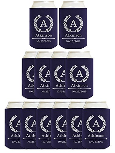 Personalized Wedding Gifts Initial Wreath Coolies 12-pack Custom Can Coolie Drink Coolers Coolies Navy -