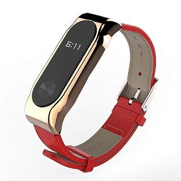 Correas xiaomi Band 2,☀️Modaworld Pulsera de reemplazo Correa de Reloj Inteligente de Cuero Mijoas Pulsera de Correa para Xiaomi Miband 2 (Oro): ...