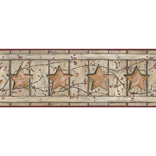 York Wallcoverings Keepsakes Country Cutout Star Removable Wallpaper, Beige, Taupe, Copper, Red, Black ()
