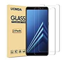 Samsung A8 2018 Screen Protectors [2 Pack], UCMDA [Not Full Coverage] 0.3mm 9H Hardness 99% HD Clarity [Case Friendly & Bubble Free] Premium Tempered Glass Screen Protector Guard Film for Samsung Galaxy A8 2018 5.6 Inch - Clear