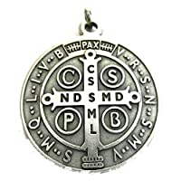 60.050.30 medaglia di san benedetto argento misura 48 mm con anello prete esorcismo suora chiesa sacerdote santo