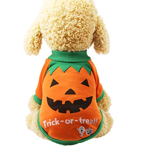 Feeke Halloween Costumes for Dogs Pet Pumpkin Dog Vest Shirts Sweater Holiday Chiwawa XS
