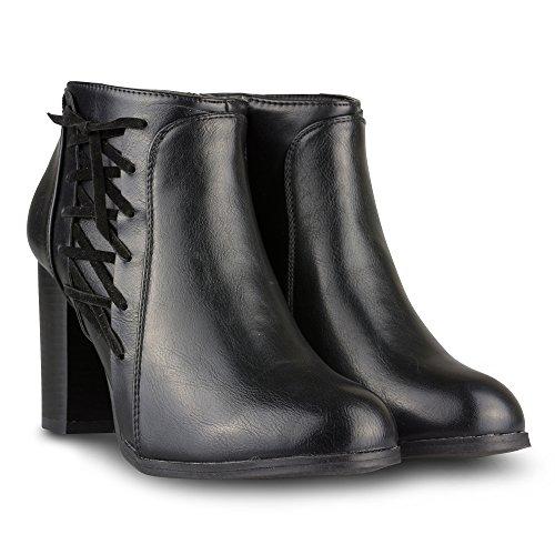 Black High Leather Heeled Carol Faux Women's Twisted Bootie Bc6U7WzfHy