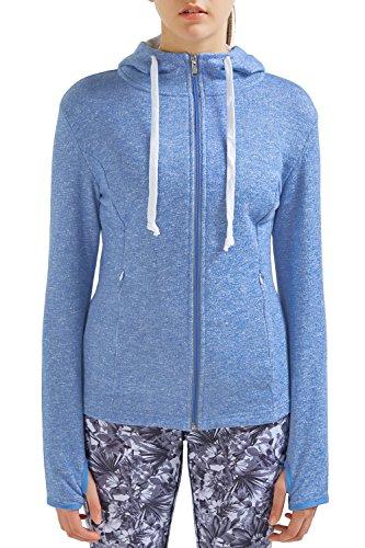 Blue Reversible Zip Hoody Sweatshirt - SPECIAL MAGIC Women's Active Baby Terry Full-Zip Cotton Hooded Sweatshirt Hoodies (XL, Baby Blue)