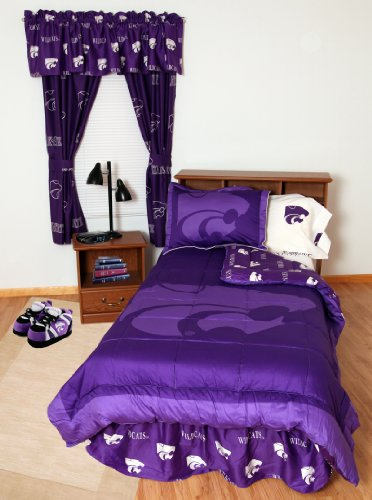 Kansas State Wildcats (3) Piece KING Size Reversible Comforter Set and set of Two (2) Matching Window Curtain Valances - Entire Set Includes: (1) KING Size Reversible Comforter, (2) Pillow Shams and (2) Matching Window Curtain Valances - Save Big By Bundling!