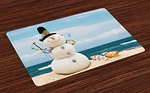 Ambesonne Snowman Place Mats Set of 4, Winter Vacation Holiday Theme Snowman with Seashells Sitting on Sandy Beach Coastal, Washable Fabric Placemats for Dining Room Kitchen Table Decor, ()