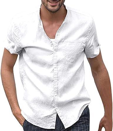 Doreleven ❣ Camisa de Lino con Botón para Hombre Camiseta Manga de Tres Cuartos Blusa de Color sólido Suelta Camiseta Casual Blusa de Algodón Tops de Corte Holgado de Yoga: Amazon.es: Ropa