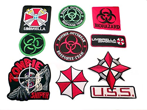 [Resident Evil 9PK Assortment Horror Film Theme DIY Easy Iron/Sew-on Embroidered Patches By Superheroes Brand] (Diy Hellraiser Costume)