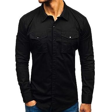OIKAY - Camisa de Manga Larga para Hombre con Bolsillos y Polos ...