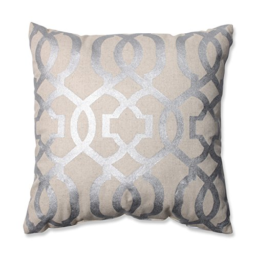 Geometric Silver/Linen 16.5-inch Throw Pillow by Pillow Perf