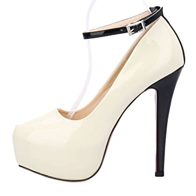 0048cb5b4cca ZriEy Women s Sexy Noble Platform Pumps Ankle Strap Stiletto High Heels for  Party Wedding Dancing Shoes