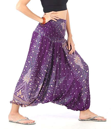 CandyHusky Women Gypsy Hippie Boho Baggy Loose Fit Elastic Jumpsuit Harem Pants (Peacock Feather Purple) (Pants Harem Purple)