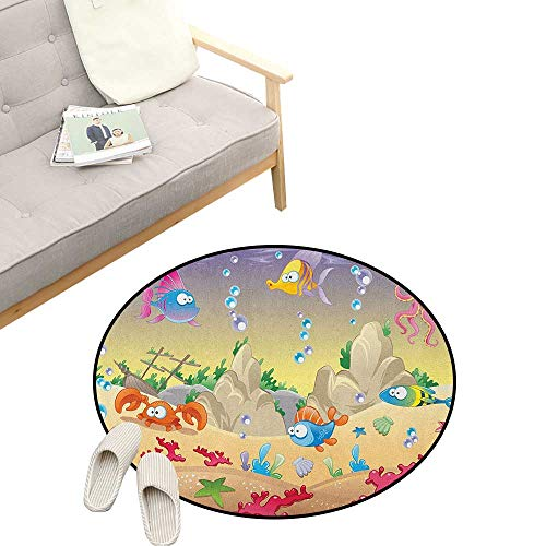 Underwater Round Rug ,Kids Cartoon Design Funny Sea Animals Fishes Sunken Ship Coral Reef and Bubbles, Flannel Microfiber Non-Slip Soft Absorbent 23