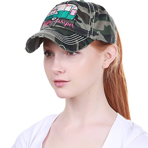 - PONY-101 CAM Happy Camper Ponytail Messy High Bun Adjustable Cotton Baseball Cap