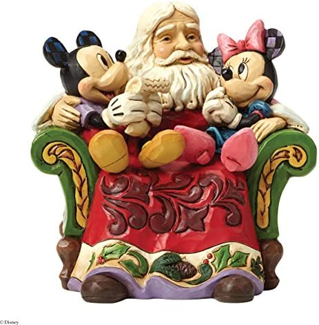 Disney Traditions by Jim Shore Santa with Mickey and Minnie Mouse Stone Resin Figurine, 5.5