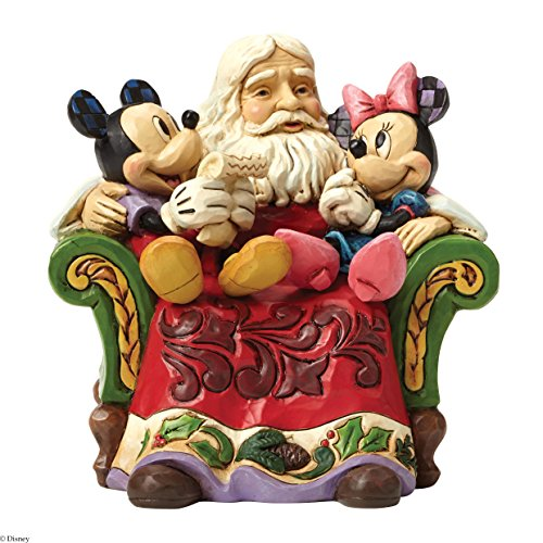 (Disney Traditions by Jim Shore Santa with Mickey and Minnie Mouse Stone Resin Figurine, 5.5