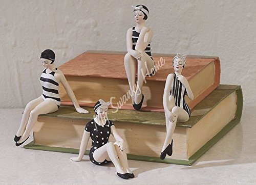 MY SWANKY HOME Set Four Retro Pinup Girls Statues Bathing Beauties Swimsuit Models Art Deco Vintage