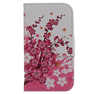 misahouse PU leather case for Huawei Ascend P6 Wallet PU Stand Cover protector + free Screen protector, free dust stopper - Pink Flower