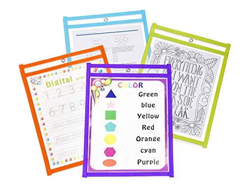 Dry Erase Pockets Oversize 10x14 Pockets Reusable Dry Erase Board Sleeves Assorted Colors Worksheet Sleeves Perfect for Classroom Organization Ideal for Office and School Work,24 Pack Photo #6