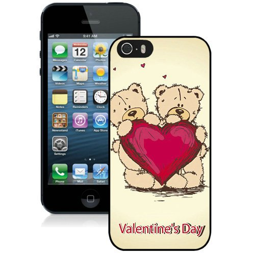 Coque,Fashion Coque iphone 5S Cute Bears Heart Valentines Day Noir Screen Cover Case Cover Fashion and Hot Sale Design