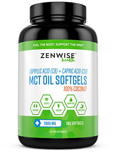 Coconut MCT Oil Softgels 3000 MG - With C8 Caprylic Acid & C10 Capric Acid - Weight Loss & Energy Boost Supplement for Men & Women - Digestion & Metabolism (Lauric Acid Coconut)