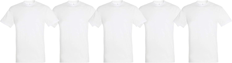 Pack 5 o 10 Camisetas Blancas 100% Algodon Unisex: Amazon.es: Ropa y accesorios