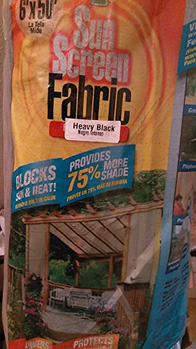 Easy Gardener 75050 Sun Screen Heavy Black Outdoor Sunscreen Fabric, 6u0027X50u0027  By