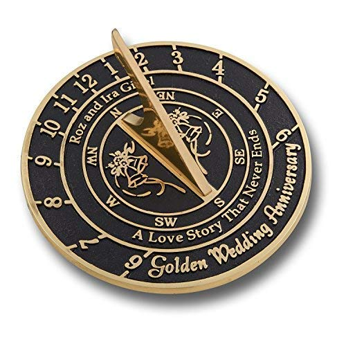 Unique Wedding Gift Idea for A Special Couple. A Personalized Sundial Makes A Great Marriage Present for The Bride and Grooms Garden Or Home Décor Ornament. by The Metal Foundry UK by The Metal Foundry Ltd