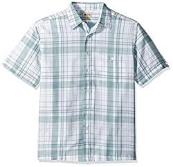 Haggar Men's Short Sleeve Microfiber Woven Shirt, Bay Green, L