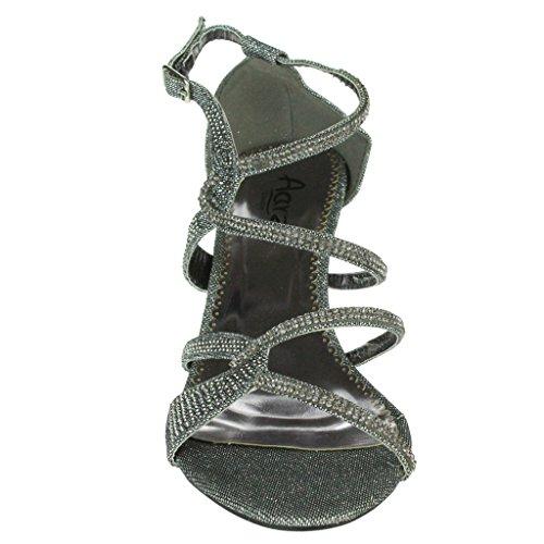 Mujer Señoras Diamante Embellecido Enjaulado Tacón medio Noche Fiesta Boda Paseo Sandalias Zapatos Tamaño Estaño