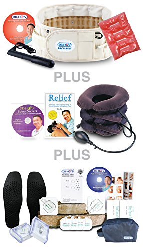DR-HO'S® 2-in-1 Back Decompression Belt - Ultimate Package (Includes BONUS Hand Pump, Heat Pack, Neck Comforter, Spinal Secrets DVD, Pain Relief Book & DR-HO'S Pain Therapy System 4-Pad) (Beige, Size A (25