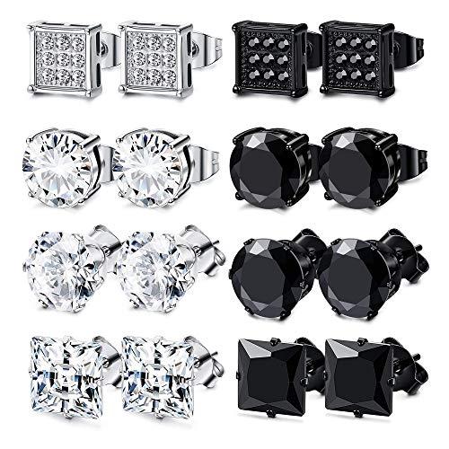FIBO STEEL 8 Pairs Stainless Steel Stud Earrings for Men Women Square Round CZ Stud Earrings Set Ear Jewelry 8MM