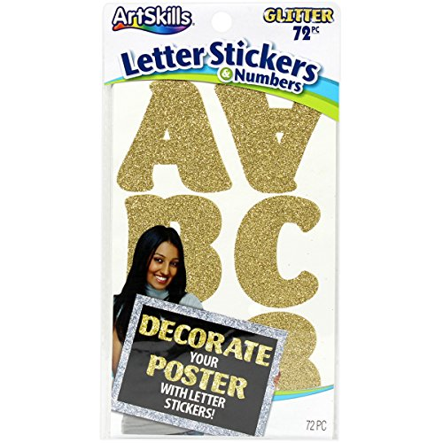 Price comparison product image ArtSkills Gold Glitr-Poster Letters / Numbr Presentation Material (PA-3977)