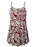 Lotusmile Women Loose Casual Gemetric Summer Pleated Flowy Sleeveless A-Line Camisole Tank Tops Multicolor Red/M
