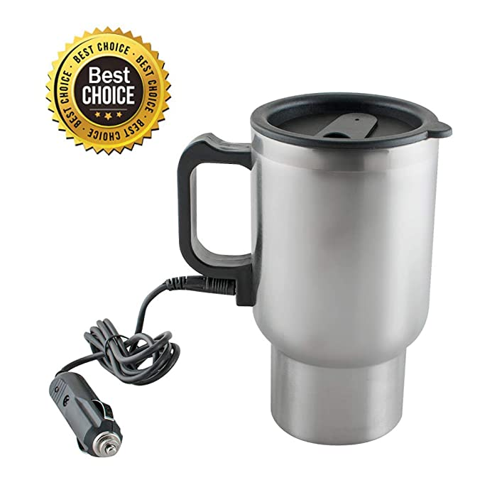 Travel Coffee Mugs, Vinmax Stainless Steel Travel Coffee Mug Cup Heated Thermos with Handle for Heating Water, Coffee, Tea Milk,16 Ounce 12V, ANTI SCALDING