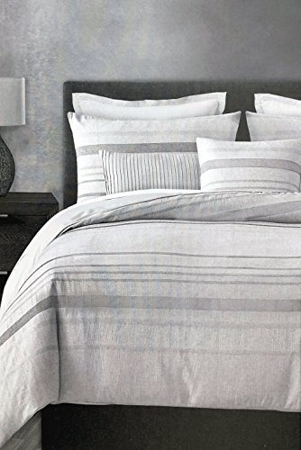 ENVOGUE Bedding 3 Piece Queen Size Duvet Cover Set Horizontal Jacquard Woven Stripes in Shades of Gray