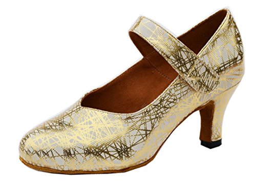 Mary Shoes Salsa Modern Gold Synthetic Women's Tango TDA Comfort Wedding Heel Latin Janes Mid Ballroom Dance 6PxEWSq0w