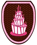 Toilet Tattoos TT-0004-O Pink Birthday Cake Decorative Applique For Toilet Lid, Elongated
