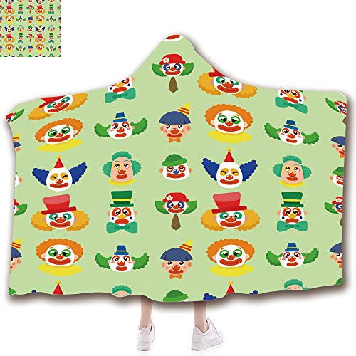 3D Printed Hooded Blanket Fashion Thick Warm Flannel Throw Blanket Kids(51