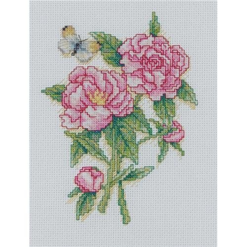 Bucilla Mini Counted Cross Stitch Picture Kit, 45523 Peonies