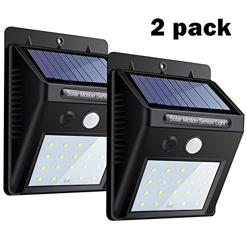 Solar Lights 2 PACK ,20 LEDs Motion Sensor Wall Light by ...